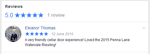 Screen capture of Facebook 5 star review