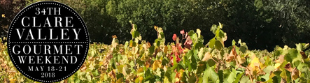 34th Clare Valley Gourmet Weekend logo and autumn vines