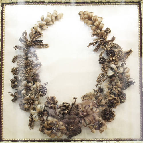 Floral wreath made from human hair