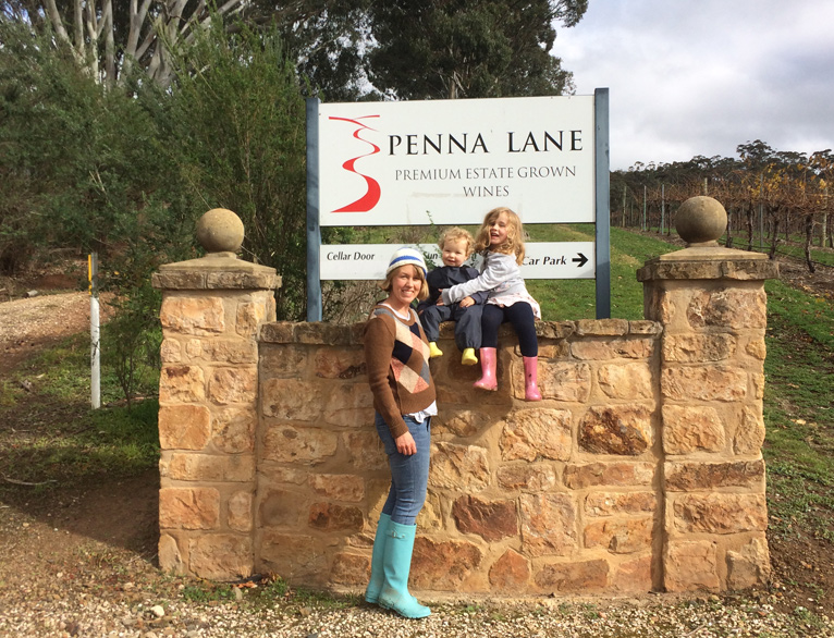 Hannah and children at Penna Lane entrance