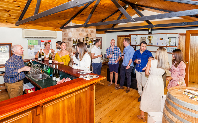 Customers inside cellar door